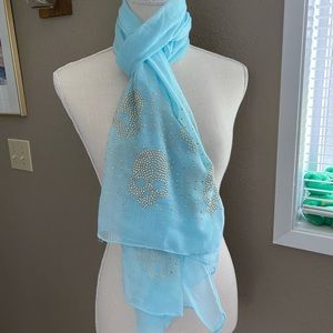 Accessories - Baby blue and gold studded skull scarf